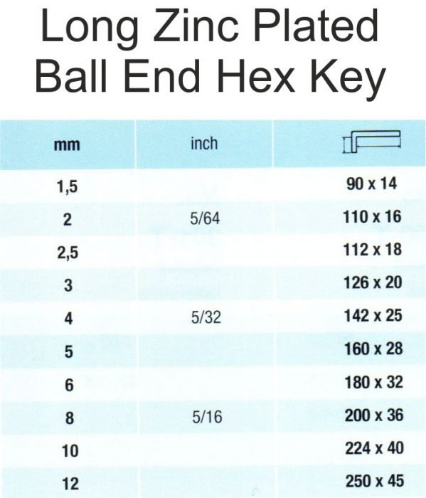 Long Zinc Plated Ball End Hex Key Sizes